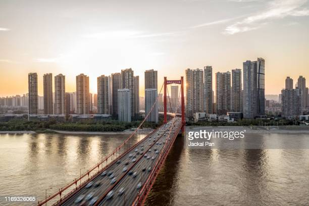 yingwuzhou yangtze river bridge - wuhan stock photos and pictures