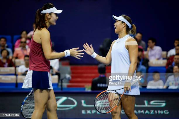 Yingying Duan and Xinyun Han of China Celebrates wins the Points in their doubles Semifinal match against Chen Liang of China and her partner Zhao...