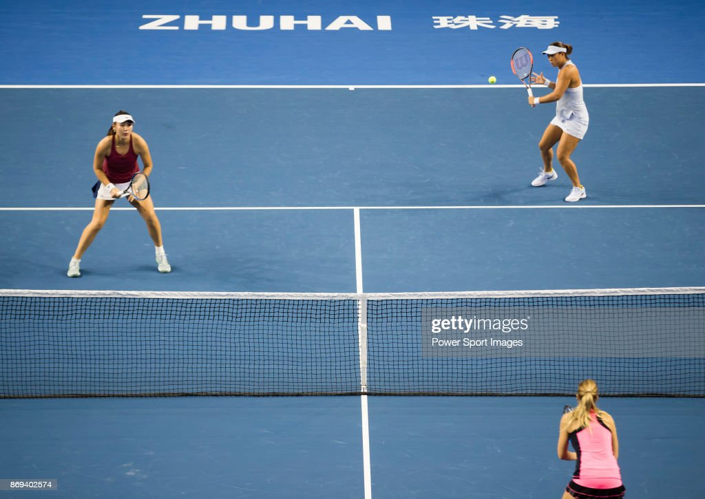 Ying-Ying Duan (L) and Xinyun Han (R) of China in action during the doubles Round Robin match of the WTA Elite Trophy Zhuhai 2017 against Raluca Olaru of Romania and Olga Savchuk of Ukraine at Hengqin Tennis Center on November 02, 2017 in Zhuhai, China.