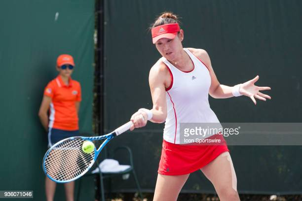 Yingying Duan competes during the qualifying round of the 2018 Miami Open on March 19 at Tennis Center at Crandon Park in Key Biscayne FL