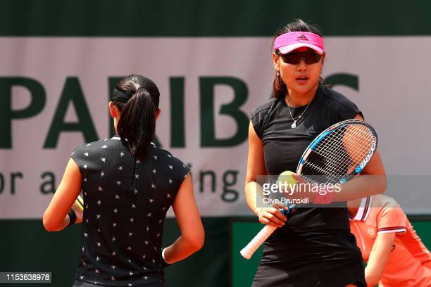 Yingying Duan of China and partner of Saisai Zheng of China during their ladies doubles quarterfinals match against Gabriela Dabrowski of Canada and...