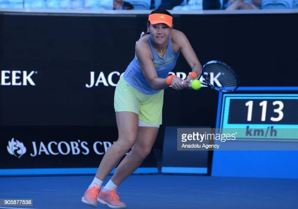 YingYing Duan of China competes with Jelena Ostapenko of Latvia on day three of the 2018 Australian Open at Melbourne Park on January 17 2018 in...