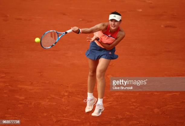 Yingying Duan of China in atcion during her ladies singles first round match against Caroline Garcia of France during day three of the 2018 French...