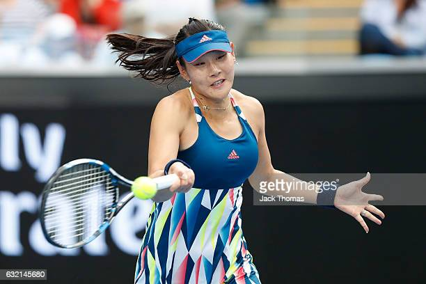 YingYing Duan of China plays a forehand in her third round match against Venus Williams of the United States on day five of the 2017 Australian Open...