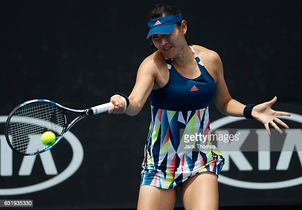 YingYing Duan of China plays a shot in her second round match against Varvara Lepchenko of the United States on day three of the 2017 Australian Open...