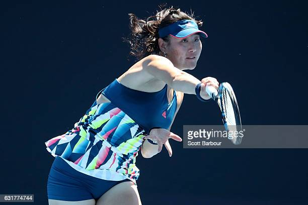 YingYing Duan of China serves in her first round match against Rebecca Sramkova of Slovakia on day one of the 2017 Australian Open at Melbourne Park...