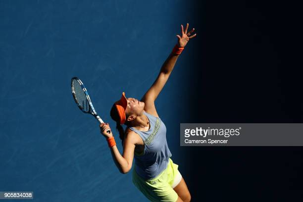 YingYing Duan of China serves in her second round match against Jelena Ostapenko of Latvia on day three of the 2018 Australian Open at Melbourne Park...