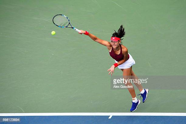YingYing Duan of China serves to Naomi Osaka of Japan during her second round Women's Singles match on Day Three of the 2016 US Open at the USTA...