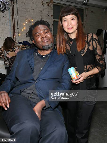 Yinka Shonibare MBE and Deborah Rigby attend the Medecins Sans Frontieres art and music fundraising event on February 27 2016 in London England