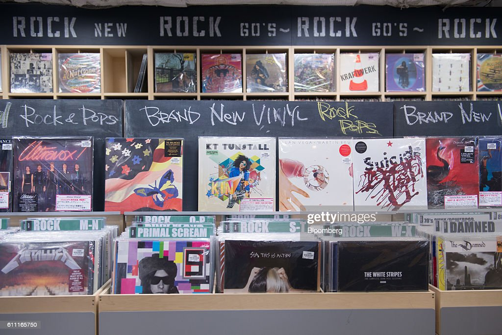 Yinyl records are displayed for sale at the HMV Record Shop operated by Lawson HMV Entertainment Inc. in the Shibuya district of Tokyo, Japan, on Wednesday, Sept. 28, 2016. Spotify Ltd. is bringing its popular online music service to Japan, a large and lucrative market where fans have demonstrated a continuing fondness for CDs and even vinyl records. Photographer: Noriko Hayashi/Bloomberg via Getty Images
