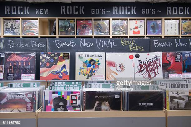 Yinyl records are displayed for sale at the HMV Record Shop operated by Lawson HMV Entertainment Inc in the Shibuya district of Tokyo Japan on...
