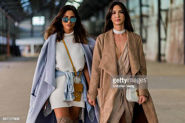 Yiota Kouzoukas wearing a brown coat from Sobo Skirt and Chloe bag and Thessy Kouzoukas wearing a Mini Chloe bag outside Misha Collection at...