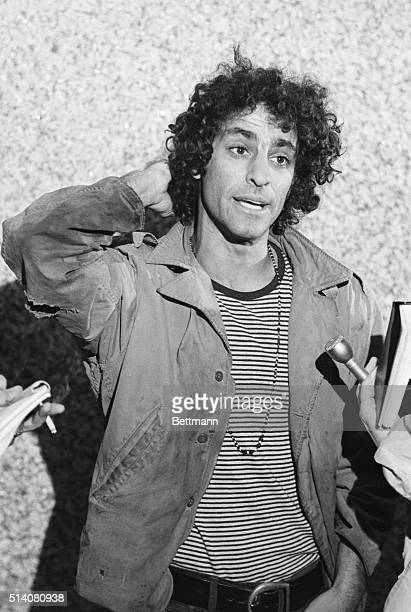 Yippie leader Abbie Hoffman speaks with reporters after posting bond in Chicago Hoffman was charged along with other radical leaders in connection...