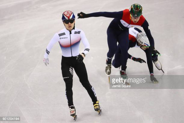Yira Seo of Korea, Dylan Hoogerwerf of the Netherlands and Sebastien Lepape of France compete during the Men's Short Track Speed Skating 500m Heats...