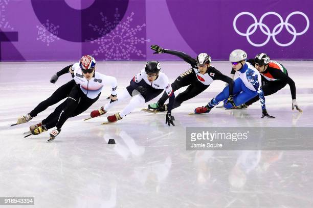 Yira Seo of Korea leads during the Men's 1500m Short Track Speed Skating qualifying on day one of the PyeongChang 2018 Winter Olympic Games at...