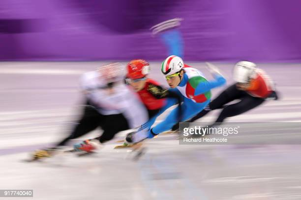 Yira Seo of Korea Tommaso Dotti of Italy Tianyu Han of China and Itzhak De Laat of the Netherlands compete during the Men's 1000m Short Track Speed...
