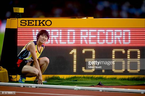 Yiting Shi of China celebrates setting a new world record in the Women's 100m T36 Final during day seven of the IPC World ParaAthletics Championships...