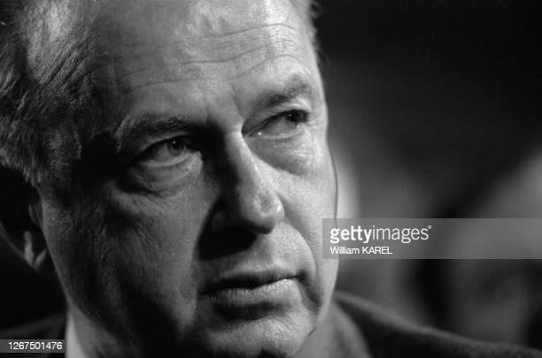 Yitzhak Rabin annonce sa démission du poste de 1er ministre à la Knesset à Jérusalem le 21 décembre 1976, Israël