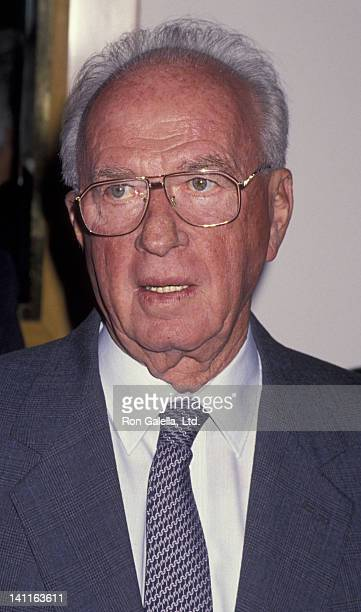 Yitzhak Rabin attends Israel Policy Forum Luncheon on November 16, 1994 at Morton's Restaurant in West Hollywood, California.