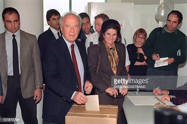 Yitzhak Rabin the former Israeli Defence Forces ChiefofStaff and Prime Minister casts 19 February 1992 in Tel Aviv his vote in the Israeli Labour...
