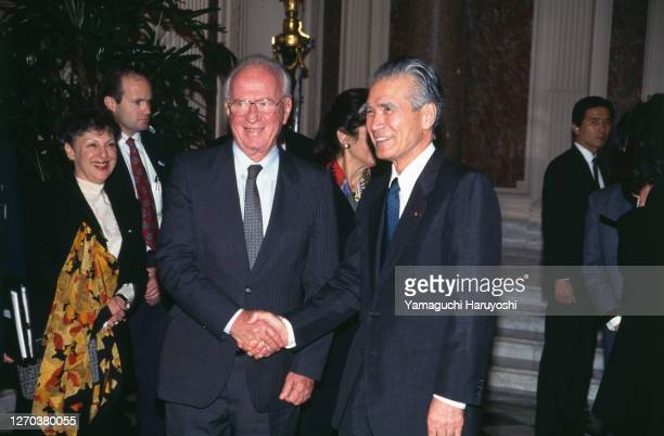 Yitzhak Rabin's first official visit to Japan - Here with japanese Prime minister : Tomiichi Murayama.