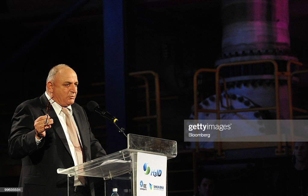 Yitzhak Tshuva, head of Delek Group, speaks at the opening event of a new desalination facility in Hadera, Israel, on Sunday, May 16, 2010. Israeli companies have 'endless' possibilities to sell clean technology to China in areas such as water recycling, desalination and solar power, Environmental Protection Minister Gilad Erdan said. Photographer: Ahikam Seri/Bloomberg via Getty Images