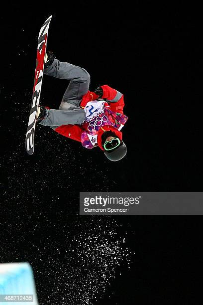 Yiwei Zhang of China competes in the Snowboard Men's Halfpipe Finals on day four of the Sochi 2014 Winter Olympics at Rosa Khutor Extreme Park on...