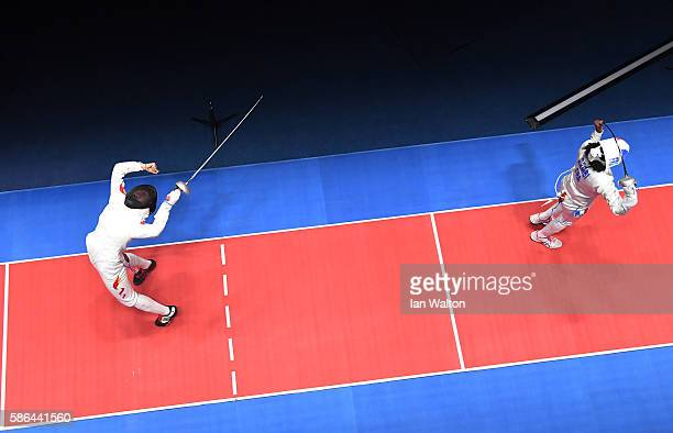 Yiwen Sun of China celebrates beating Lauren Rembi of France during the Women's Epee Individual Bronze Medal match on Day 1 of the Rio 2016 Olympic...