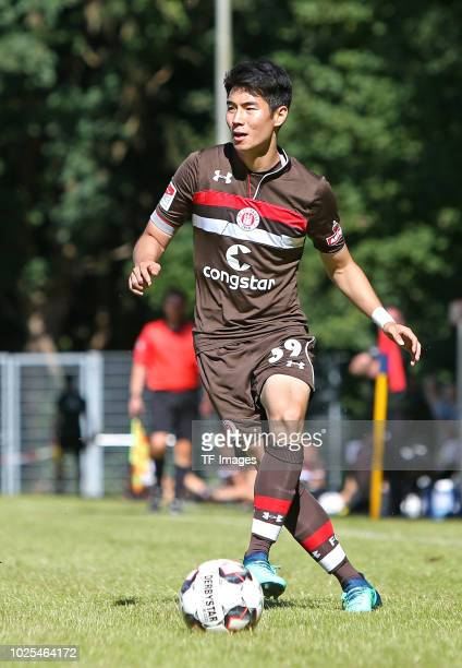 Yiyoung Park of St Pauli controls the ball during the preseason friendly match between SV Eutin 08 and FC St Pauli on July 1 2018 in Eutin Germany