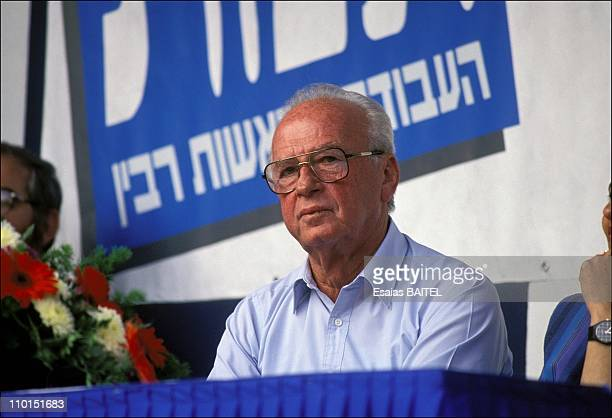 Yizhak Rabin in the campaign in Jerusalem, Israel in May, 1992.
