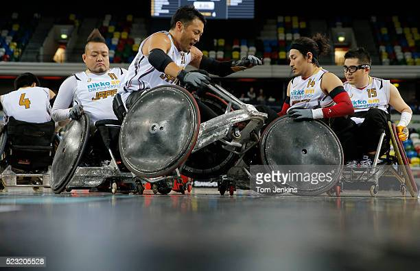 Ykuinobu Ike of Japan gets rammed by teammate Shin Nakazato in warm up for a match in the World Wheelchair rugby challenge at the Copper Box Arena...