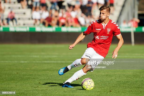 Ylber Ramadani of Vejle Boldklub in action during the Danish Superliga match between Vejle Boldklub and Hobro IK at Vejle Stadion on July 13 2018 in...