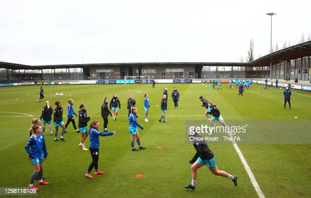 Ylenia Priest of London City Lionesses in running action during the warm up ahead of during the Barclays FA Women's Championship match between London...
