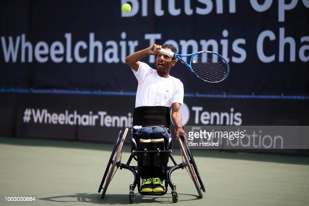 Ymanitu Silva of Brazil plays a backhand during the final of the men's quad doubles against Bryan Barten and David Wagner of The USA on day five of...