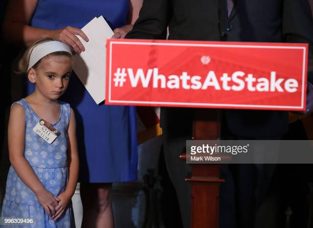 6 yo Charlie Wood who has complex medical needs from being born 3 months early attends a news conference about health care on Capitol Hill on July 11...