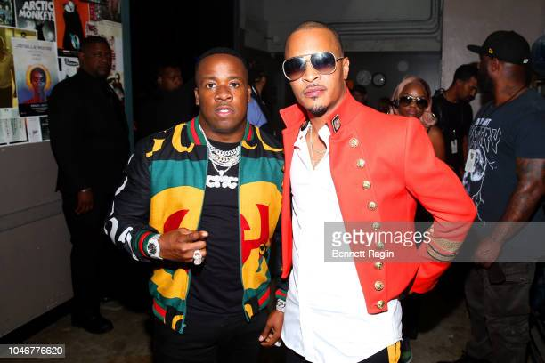 Yo Gotti and T.I. Are seen backstage during the BET Hip Hop Awards 2018 at Fillmore Miami Beach on October 6, 2018 in Miami Beach, Florida.