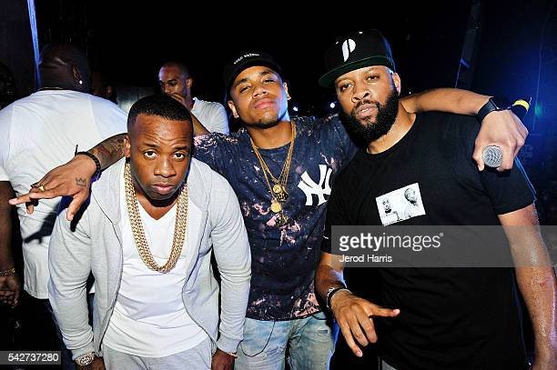 Yo Gotti, Mack Wilds and Low Key attend Trap Karaoke Powered by BET Awards on June 23, 2016 in Los Angeles, California.