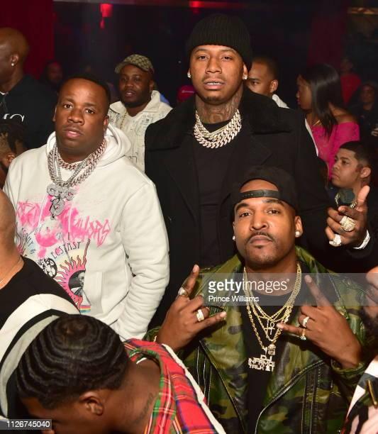Yo Gotti Moneybagg Yo and DJ infamous attend The official Big Game Kick Off Hosted By Yo GottiBernice BurgosMoneybagg Yo at Compound on February 1...