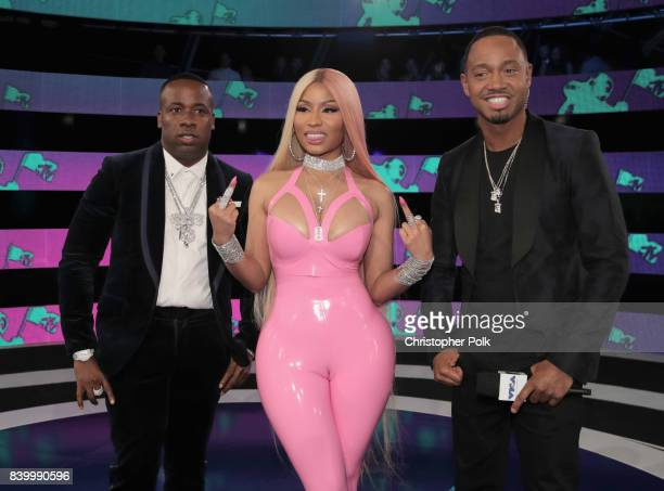 Yo Gotti, Nicki Minaj and Terrence J attend the 2017 MTV Video Music Awards at The Forum on August 27, 2017 in Inglewood, California.