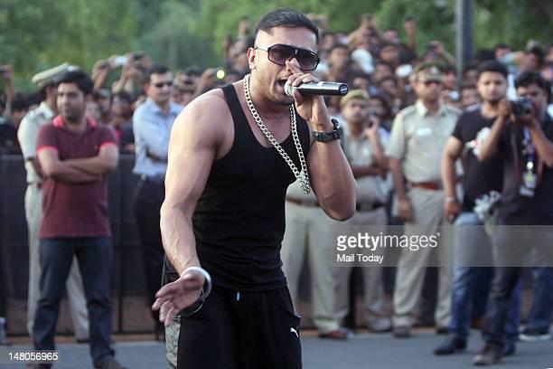 Yo Yo Honey Singh performs at the India Gate in New Delhi