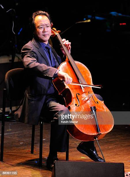 NEW YORK JUNE 08 *EXCLUSIVE* Yo Yo Ma performs during a celebration of Paul Newman's Hole in the Wall camps at Avery Fisher Hall at Lincoln Center...