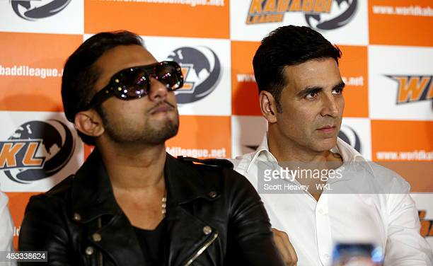 Yo Yo Tigers Owner Honey Singh and Khalsa Warriors co owner Akshay Kumar during the World Kabaddi League Press Conference on August 8 2014 in London...