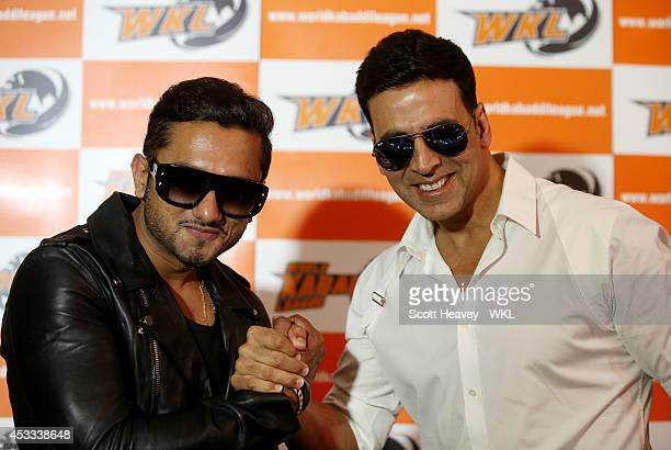 Yo Yo Tigers owner Honey Singh with Khalsa Warriors co-owner Akshay Kumar during the World Kabaddi League Press Conference on August 8, 2014 in...