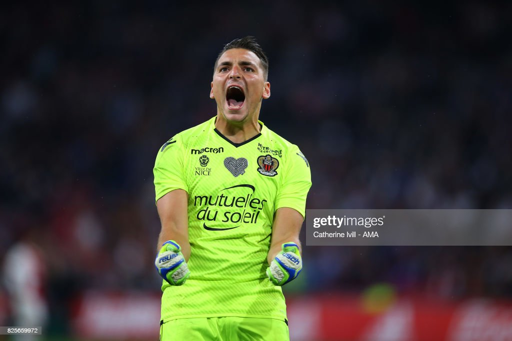 Yoan Cardinale of OGC Nice celebrates after Vincent Marcel scores a goal to make it 2-2 during the UEFA Champions League Qualifying Third Round match between Ajax and OSC Nice at Amsterdam Arena on August 2, 2017 in Amsterdam, Netherlands.