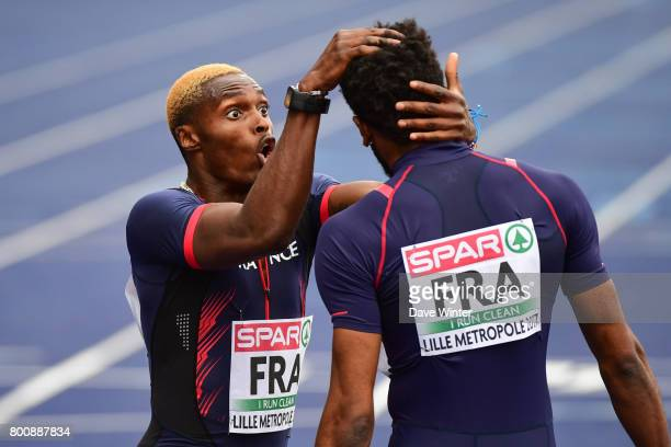 Yoan Decimus and Thomas Jordier celebrate after their run moves France up to third place overall at during the European Athletics Team Championships...
