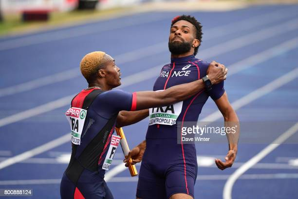 Yoan Decimus and Thomas Jordier celebrate after their run moves France up to third place overall at the European Athletics Team Championships Super...