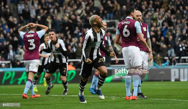Yoan Gouffran celebrates after scoring the opening goal for Newcastle during the Sky Bet Championship match between Newcastle United and Aston Villa...