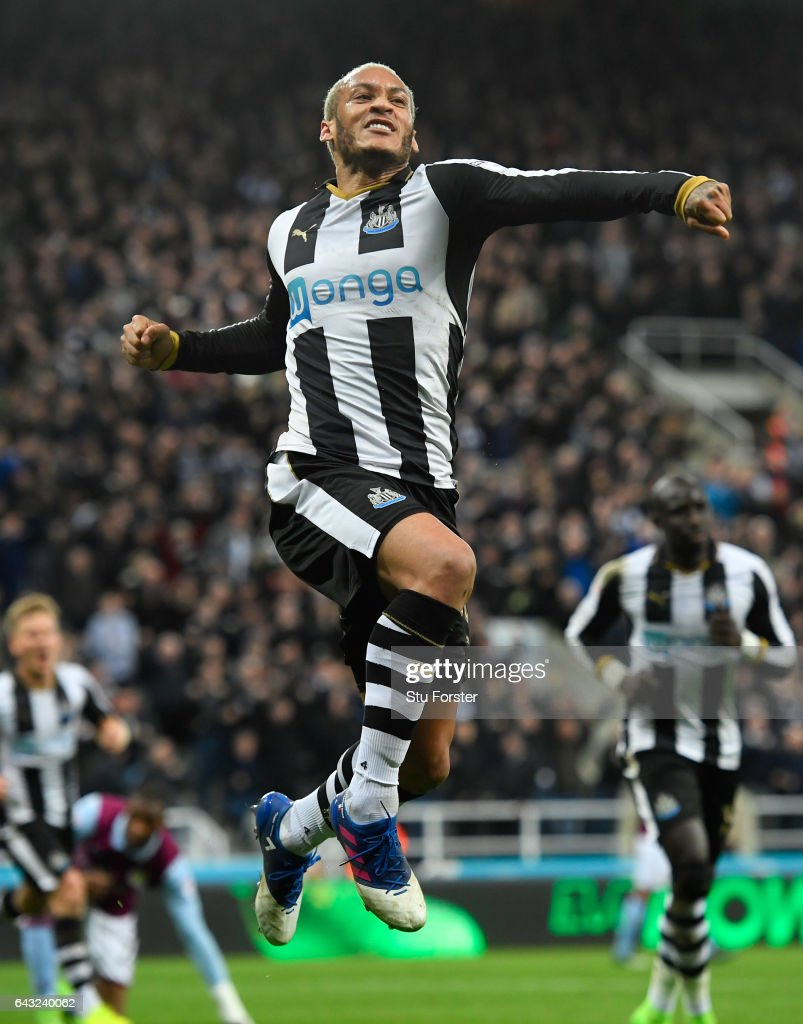 Yoan Gouffran celebrates after scoring the opening goal for Newcastle during the Sky Bet Championship match between Newcastle United and Aston Villa at St James' Park on February 20, 2017 in Newcastle upon Tyne, England.