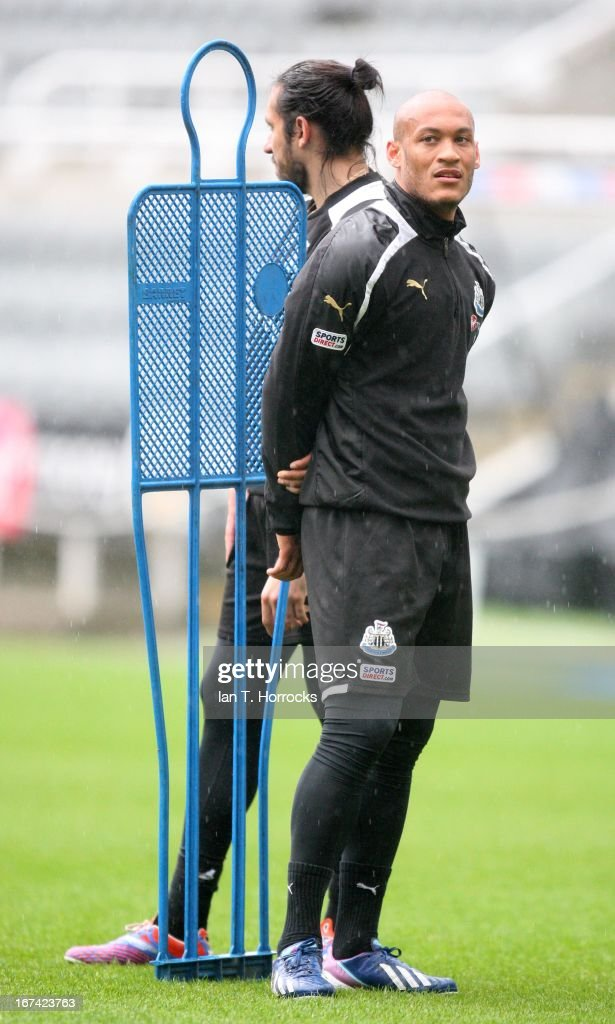 Yoan Gouffran during a Newcastle United training session at St James' Park on April 25, in Newcastle upon Tyne, England.