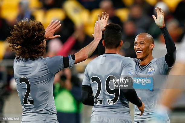 Yoan Gouffran of Newcastle celebrates his goal during the Football United New Zealand Tour match between the Wellington Phoenix and Newcastle United...